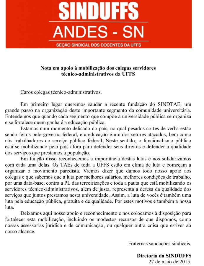 Nota da diretoria da SINDUFFS apoio aos TAES
