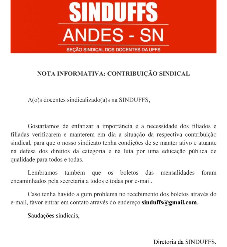 NOTA INFORMATIVA contribuição sindical