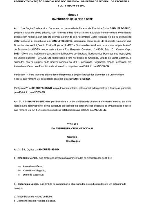 Regimento Interno SINDUFFS-1